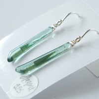 Boucles d'oreille pendantes Ag925 - Vert sauge