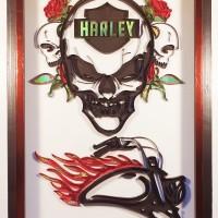 Tableau en quilling thème Harley Davidson