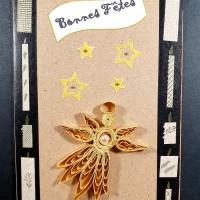 Carte de voeux en quilling ange doré