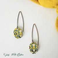 Boucles d'oreille longues Azul ovales jaune et vert de gris