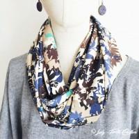 Snood-foulard Leaf feuillage vert bleu et noir