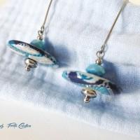 Boucles d'oreille soucoupes Kashmir bleu et turquoise sur acier inoxydable