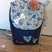 sac à dos enfant maternelle ou crèche, liberty félicite C personnalisable avec prenom brodé,cartable fille , cadeau anniversaire fille, Naissance