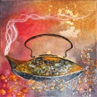 Un thé indien - carré de 20 cm peinture à l'huile
