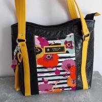 Sac cabas Gracie - simili cuir croco et coton motifs fleurs - coloris noir et jaune
