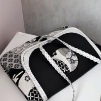 Pochette SOHO jacquard motifs Japonais, simili cuir et coton - coloris noir, argent, blanc