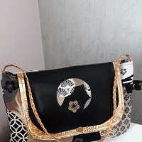 Pochette SOHO jacquard motifs Japonais, simili cuir et coton - coloris noir, doré, blanc