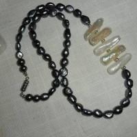 Collier, perles de culture, késhi, perles noires 50 cm