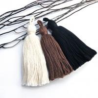 Pompon coton écru marron ou noir 80 mm 3 couleurs au choix