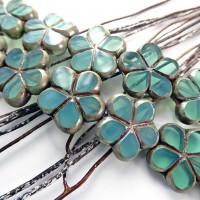 2 Perles fleur 17 mm verre de Bohême vert turquoise bronze Tchèques