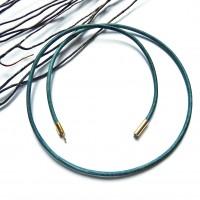 Collier cordon en cuir turquoise 40/50/60/70 cm  métal doré 2 mm