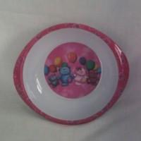 Assiette en plastique pour bébé ,enfant  ourson rose & blanc