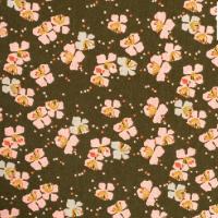 Coton vert kaki motif grandes fleurs de cerisier roses