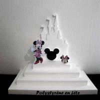 Présentoir pyramide  thème château et Minnie  (ou Mickey)   pour verrine,dragée -,baptême,anniversaire,enfant