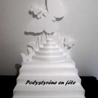 Présentoir escalier en polystyrène 50/60 cm- thème papillons pour verrine, dragée... mariage,baptême,anniversaire