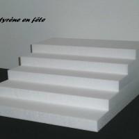 Présentoir escalier en polystyrène 5 plateaux - sans décor, à personnaliser -  pour verrines, dragées, cupcake