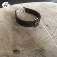 Bracelet manchette avec feuille argenté