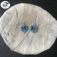 Boucles d'oreilles Tissage Cheval Bleu