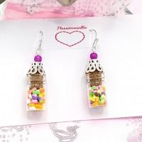 Boucles d'oreilles fiole en verre bonbons multicolores, glass vial , boueille en verre bonbons Fimo, mini bouteille de bonbons