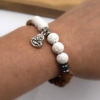 Bracelet bouddha perles de lave blanche et perle olivier, aromatérapie - Bracelet élastique yoga mala énergie