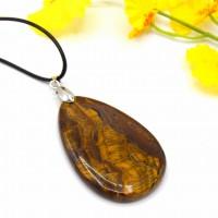 collier pendentif pierre goutte oeil de tigre, bijoux reiki chakra, pendentif collier cordon noire, pierre quartz