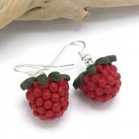 Bijoux gourmands boucles d'oreille framboise, bijoux printemps, pâte fimo