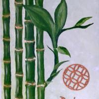 Tableau zen bambous bonheur
