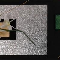 Grand tableau moderne design métal fleurs orchidées