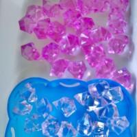 Sachet de 37 Gros acrylique cristaux Rose-Blanche  de glace pour décoration