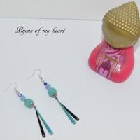 Boucle d'oreille en perle de  Jade et Aigue marine