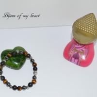 Bracelet triple protection Obsidienne Oeil de tigre Hématite Tête de Bouddha