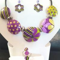 Parure bijoux pop violette/anis