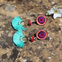 Boucles d'oreilles Pompons Corail et turquoise