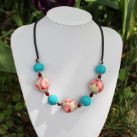 Collier artisanal Corail , anis et turquoise