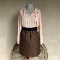 Jupe femme taille élastique en tissu japonais noir et or