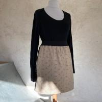 Jupe femme taille élastique en tissu japonais noir et beige