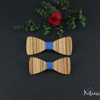 Spécial couple : lot de 2 broches noeud papillon bois assorties pour homme et femme