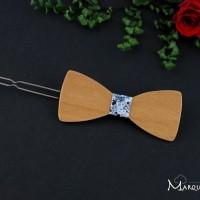 Barrette noeud papillon bois merisier orangé et tissu faux uni bleu