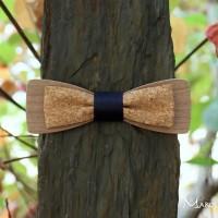 Réservé : Noeud papillon double bois et tissu liège fil bleu marine