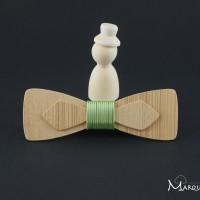 Noeud papillon slim en bois frêne olivier et fil alu vert clair
