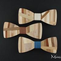 Accessoire wedding insolite : noeud papillon bois en mosaïque de bois assortis