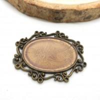 cabochon bronze  30*20mm peinture prisme rose
