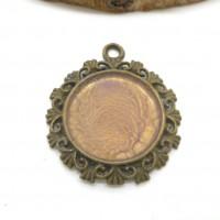 cabochon 20 mm bronze peinture prisme rose