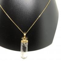 Collier long femme en acier inoxydable or avec pendentif pointe de quartz.
