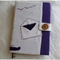 Carnet artisanal, couverture rigide, crazy patchwork