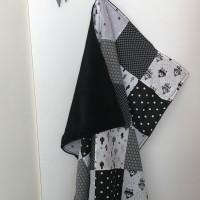 plaid - couverture  voiture bébé en noir et blanc tissu Oeko-tex