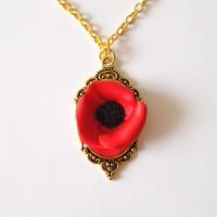 Collier chaîne pendentif baroque doré coquelicot rouge