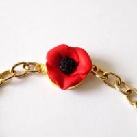 Bracelet chaîne dorée coquelicot