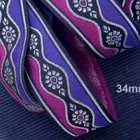 galon brodé médiéval 3m x 3,3 cm motifs margots argent sur fond noir bordé et violet et rose foncé