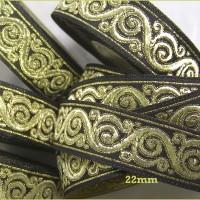 galon couture en 4.95m x 2,2 cm, motifs vagues dorées sur fond noir